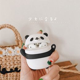 3d panda cover UK - For AirPod 2 Case 3D Panda Cartoon Soft Silicone Wireless Earphone Cases For Apple Airpods Case Cute Cover Funda