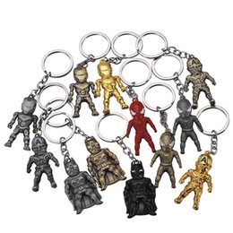 Black Keychains Australia - The Avengers Captain Jewelry America Iron Man KeyChains Spiderman Alloy Metal Keyrings Cartoon avengers Keyring Marvel Fashion Accessories