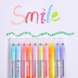 Highlighters Markers Australia - 10pcs Korean Magic Erasable Fluorescent Notes Pen DIY Highlighter Art Marker Pen Stationery Colorful Journal Supplies