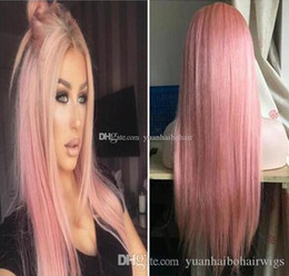 celebrity hairs NZ - Celebrity Wigs Lace Front Wig 10A Grade Ombre Pink Silky Straight Malaysian Virgin Human Hair Full Lace Wig for White Woman Free Shipping
