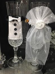 $enCountryForm.capitalKeyWord Australia - 2Pcs Set Bridal Veil Bow Tie Bride & Groom Tux Bridal Veil Wedding Party Toasting Wine Glasses Decor Party Gifts