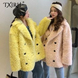 warm long stylish coats women Australia - TXJRH 2019 Stylish Big Lapel Faux Lamb Fur Hairy Shaggy Outwear Winter Keep Warm Double-breasted Jacket Women Coat Tops 3 Colors SH190930