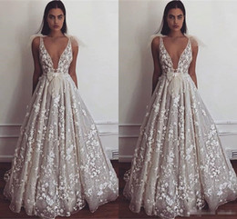 $enCountryForm.capitalKeyWord NZ - 2019 Berta Summer Beach Boho Wedding Dresses A Line Sexy Deep V Neck Appliques Fitted Bow tie Backless Bridal Gowns Cheap Plus Size