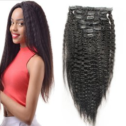 kinky coarse clip extensions Australia - coarse yaki Brazilian Remy Kinky Straight Hair Clip In Human Hair Extensions Natural Color 10 Pieces Set Full Head Sets 120G