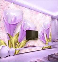 For Nursery Bags NZ - 3d room wallpaper custom photo non-woven mural 3D purple calla embossed soft bag jewelry background wall wallpaper for walls 3 d