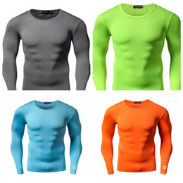 5695f431cfb Training Long Sleeves Tights Pure Color Round Collar Fitness Wear High  Elastic Force Compress Run Quick Drying Man T Shirt 21smH1