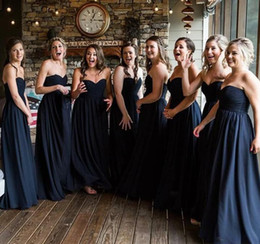 585d1cc407 New Dark Navy Chiffon Bridesmaid Dresses 2019 Sweetheart Summer Country  Garden Formal Wedding Party Guest Maid of Honor Gowns Plus Size