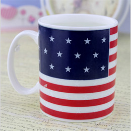 heat changing mugs china Australia - American Flag Coffee Mug Ceramic Stars Heat Changing Color Creative Cup for Gift Drinkware
