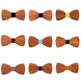 Creative Mens Wood Bow Tie Fashion Mens Party Business Butterfly Cravat Classic Women Kids Party Bowknot Ties LT-TTA1239 on Sale