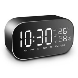 Discount double bluetooth speaker - UPS2 Multifunction FM Radio with Display Portable Tabletop Bluetooth Speaker Double speaker Alarm clock Support Aux TF c