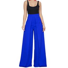 $enCountryForm.capitalKeyWord UK - Chic High Waist Zipper Palazzo Pants For Women Casual Loose Wide Leg Pants Ladies Elegant Long Culottes Trousers Pantalon Femme Y19051701