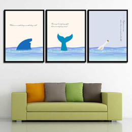 Art Canvas Prints Australia - Poster Girl'S Room Pictures Prints Sea Landscape Animal Nordic Watercolor Style Kids Decoration Painting HD Wall Art Canvas