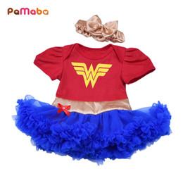 $enCountryForm.capitalKeyWord Australia - Pamaba 2pcs Baby Superhero Clothes 0-18m Girl Tutu Dress With Headband Ruffle Toddler Wonder Woman Batman Superman Costume Frock Y19061101