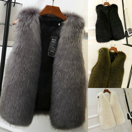 Stock Clothes Winter Australia - 2018 Winter Women Clothes Faux Fox Fur Warm Vest In Stock High Quality Female Outerwear Coats XS-2XL