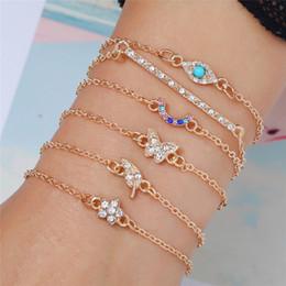 $enCountryForm.capitalKeyWord NZ - 6pcs Set Fashion Cool Butterfly Crystal Bracelet Link Chain Charm Bracelet Bangle for Women Gold Bracelets Set Party Jewelry