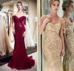 Off Shoulder Mermaid Pageant Dress Red Australia - Bright Red Evening Dresses Bling Sequins Off Shoulder Mermaid Prom Dresses With Tassel Full Crystal Floor Length Girls Pageant Gowns