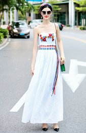 Cotton Braiding Australia - Runway Fashion Women's Bohemian Dresses Backless Wrapped Chest Color Braided Drawstring Waist Embroidered Cotton Dress