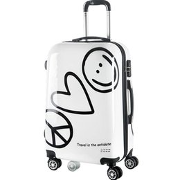 Wholesale LeTrend Korean Cute Rolling Luggage Spinner Cartoon Password Suitcase Wheels inch Women Carry on Trolley Travel Bag Trunk