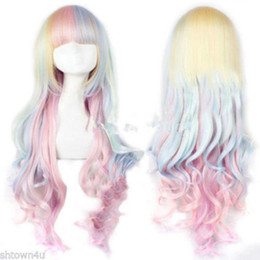 $enCountryForm.capitalKeyWord Australia - 00288 free shipping Lolita Harajuku Style Mixed Multi-Color Curly Long Hair Anime Cosplay Wig