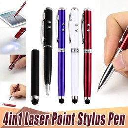 $enCountryForm.capitalKeyWord UK - 4 in 1 Laser Pointer LED Torch Touch Screen Stylus Ball Pen for iPhone for Ipad for Samsung Portable 100ps lot