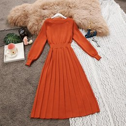 lantern sleeve work dresses Canada - 2018 Autumn Winter New Women Lantern Sleeve Waist Fold Knit Medium-length Pleated Dress Female Vintage O-neck Sweater Dresses Y190425
