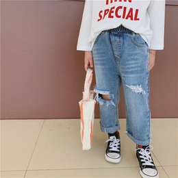 $enCountryForm.capitalKeyWord Australia - Fashion kids jeans 2019 autumn girls hole casual denim pants children double pocket elastic waist cowboy trouser boy clothes F9550
