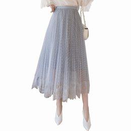 2b8bac9b31 Spring and Summer 2019 New Dot Fashion Irregular Pleated Skirt Women Super  Fire Mesh Women's Skirt High Waist Long Saia Faldas