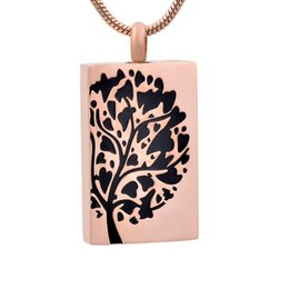 red rectangle pendant Australia - new z785 rose gold Tree Of Life Keepsake Urn Jewelry Hold Human Pet Ashes Rectangle Stainless Steel Cremation Locket Necklace Pendant