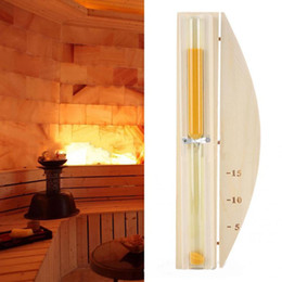 timer hourglass NZ - Wall-Mounted Rotating Sauna Clock Wooden Hourglass White Sand Timer 15 Minutes for SPA