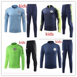 Kids blue tracKsuit online shopping - 2019 Man City kids Soccer Tracksuit KUN AGUERO SANE STERLING DE MAHREZ BERNARDO Training Suit Youth football sportwear Jacket