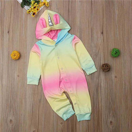 $enCountryForm.capitalKeyWord Australia - Newest Spring Fall INS Toddler Baby Boys Girls Hoodies Rompers Hooded Jumpsuits Rainbow Unicorn Front Buttons Newborn Onesies for 0-2T