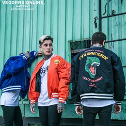 Product Brand Color NZ - VEGORRS Original Tide Brand Winter Clothes New Product Dinosaur Printing Cotton Clip Thickening Jacket Male Baseball Serve Loose Coat Lovers