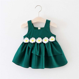 girls pleated chiffon dresses UK - Baby Dress Summer Girls Infant Flower Dresses Kids Baby Sleeveless Cotton Dress Clothing Party Princess Dresses