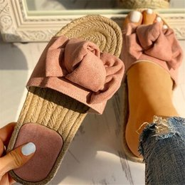 linen slippers Australia - Slides Slippers Women Summer Beach Bow Summer Sandals Slipper Indoor Outdoor Linen -flops Shoes Female Fashion Floral Shoes