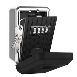 Wall Mount Storage Organizer Australia - Wall Mounted Key Storage Organizer Boxes with 4 Digit Combination Lock Spare alloy house cards Key Box Metal Secret Safety Box