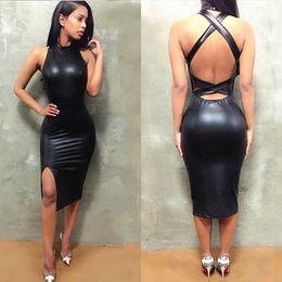 ca23b6b04 Women Sexy Dresses 2019 Summer New Designer Dress Leather Skirt Tight  Halter Luxury Mini Skirt Nightclub Style Cross Strapless Open Back