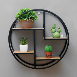 Wood Wall Hangings Art Australia - European style living room wall hanging wrought iron racks retro solid wood shelves partition wall decoration round display stand direct