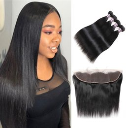 Discount kinky waves - Malaysian Hair Deep Wave Loose Wave Peruvian Human Hair Bundles With Closure Brazilian Straight Kinky Curly Hair Weft 4p