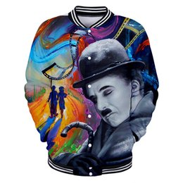 artist figures Australia - new British Figure Charlie Chaplin Baseball Coat 3D Print Unisex Mens Creative Artist Printing Ink Casual Fashion Jacket Single Breasted