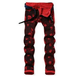 Skull print pantS for men online shopping - Discount Skull Printed Jeans For Men Hip Hop Casual Slim Straight Jeans Designer Red Pants Mens Brand Printing Trousers Jeans Hombre