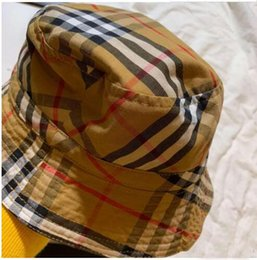 Boys Visor Australia - Plaid 2019 new brand Kids Bucket Hat Double Sides Caps Baby Envy Blue Sun Visor Boy Girls Hats Children Fine Cotton Made