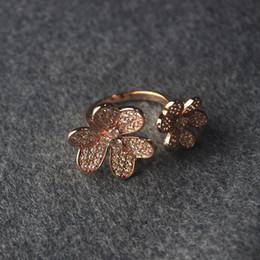 $enCountryForm.capitalKeyWord Australia - Luxury designer woman flower Diamond Ring free size women Party clover Rings Drop ship