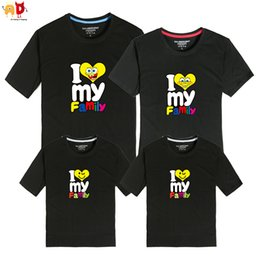 matching father daughter clothing 2019 - good quality 1PCS I Love My Family Mother Daughter Father Son T-shirts Summer Family Matching Clothing Couple Clothes Co