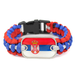 Camp Charms Australia - Glass Rectangle Serbia National Flag Outdoor Camping Survival Paracord Wrap Charm Bracelet Royal Blue Red White Umbrella Rope Unisex Jewelry