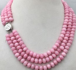huge yellow necklace Canada - Huge 5x8mm NATURAL pink Rhodochrosite FACETED BEADS NECKLACE 3 Row 18-20'' jade