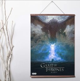Chinese  Game of Thrones Season 7 HBO TV PLAY Series Art Wall Canvas poster with wood scroll manufacturers