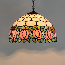 $enCountryForm.capitalKeyWord Australia - 12 Inch Pink Tulip Pendant Lamp Tifafny Flesh Country Flowers Stained Glass Lamp Art Glass Chain Pendant Lights for Bar Dinning Bed Room
