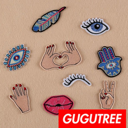 Eyes Patches Australia - GUGUTREE iron on embroidery eyes patches badge patch Applique Patch for Coat,T-Shirt,hat,bags,Sweater,backpack SP-331