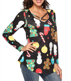 christmas shirts women s Canada - Christmas T Shirt Long Sleeve Top Women Snowman Print Tee Shirts 2020 Autumn Top Lady Christmas Clothes Female Hollow Out Tee