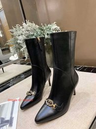 Thin Tie fashion online shopping - Hot Selling Solid Rivets Studded Short women Boots leather For Woman High Thin Heels Ankle Shoes Pointed Toe Autumn